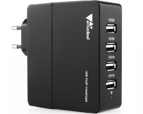 Cargador USB amzdeal 4 puertos barato, Chollo cargador para móvil, Cargador para móvil barato, Cargador varios puertos barato