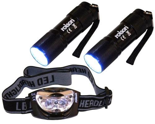 Lote de tres linternas LED Rolson baratas, Linternas de LED baratas, Chollos linternas de LED, Linterna frontal de LED barata