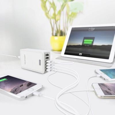 Cargador RAVPower Bolt con 6 Puertos USB barato, chollos en cargadores USB, cargadores USB baratos, cargadores para móvil baratos