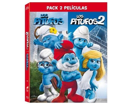Pack películas Los Pitufos 1 y 2 en Blu-Ray barato, películas en Blu-Ray baratas, películas baratas, chollos en películas, películas infantiles baratas