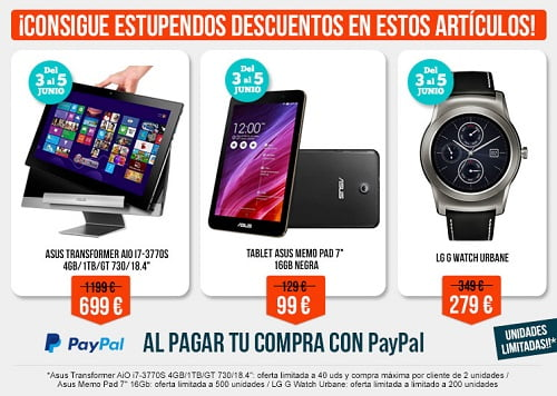 Promoción tablets y smartwatch baratos PayPal y PCComponentes, chollos en pccomponentes, tablets baratos, smartwatches baratos
