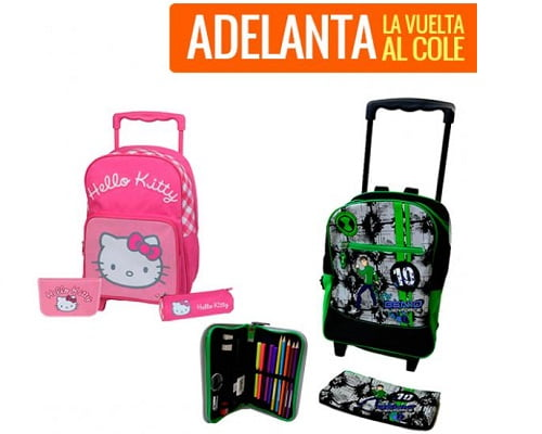 Pack mochila escolar con ruedas y estuches barato, mochilas escolares baratas, mochilas infantiles baratas, chollos en mochilas escolares