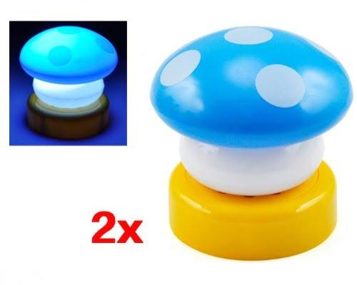 Lámpara de noche LED Sodial Seta azul barata, lámparas nocturnas baratas, lámparas infantiles baratas, chollos en lámparas de LED