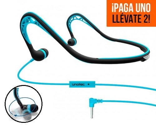 Auriculares deportivos Unotec Runlite baratos, chollos en auriculares deportivos, auriculares deportivos baratos