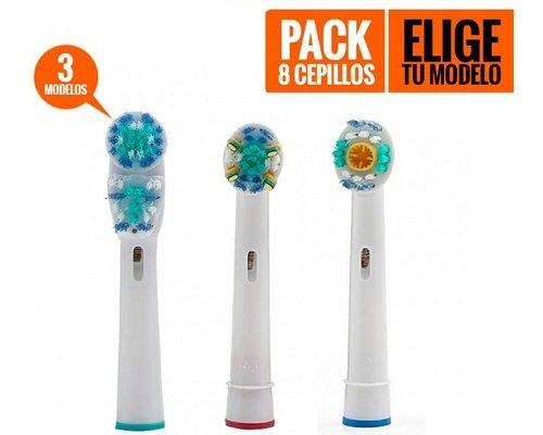 Pack de 8 recambios cepillos de dientes compatibles Oral-B baratos, recambios cepillos de dientes baratos, chollos en recambios de cepillos de dientes compatibles Oral-B