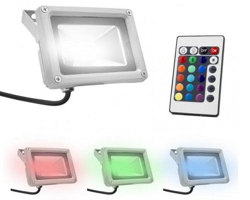 Foco LED de exterior RGB con mando 10W barato, focos LED de exteriores baratos, chollos en focos LED, ofertas en focos LED, lámparas de LED baratas