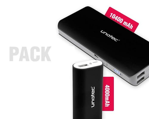 Pack de 2 baterías externas Unotec baratas, baterías externas baratas, chollos en baterías externas