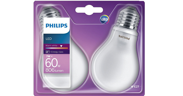 Pack de 2 bombillas LED Philips de 60W barato, bombillas de LED baratas, chollos en bombillas LED, ofertas bombillas LED