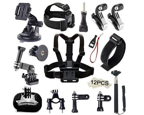 Kit de accesorios para cámara deportiva barato, accesorios para GoPro baratos, chollos en accesorios para GoPro, accesorios para cámaras deportivas baratos