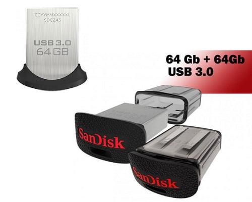 Pack de 2 pendrive Sandisk Ultra Fit de 64GB barato, pendrives baratos, chollos en pendrives, ofertas en pendrives, memorias baratas