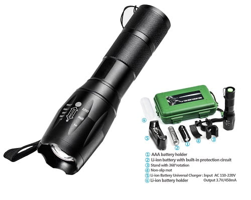 Linterna LED 900L resistente al agua y con cargador barata, linternas LED baratas, chollos en linternas LED, ofertas en linternas de LED