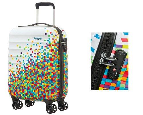 Maleta de cabina American Tourister Palm Valley Pixel White barata, maletas de cabinas baratas, chollos en maletas de cabina, ofertas en maletas de cabina
