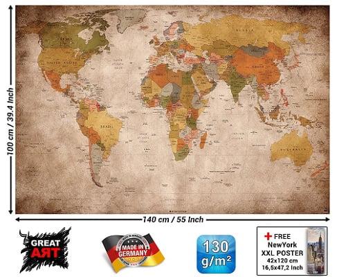 Toma chollo mapamundi vintage en p ster de papel pintado for Papel pintado barato vintage
