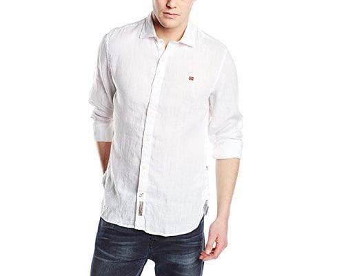 Camisa de lino Napapijri Gervas A barata, camisas baratas, chollos en camisas, ofertas en camisas