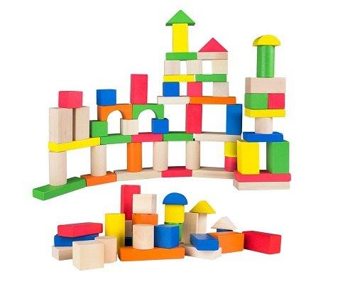 cubo de 100 bloques de madera ColorBaby baratos, chollos en juguetes de madera, ofertas en juguetes de madera, juguetes de madera baratos