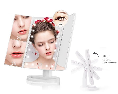 Toma chollo espejo de maquillaje plegable con led s lo for Espejos en oferta