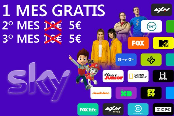 Disfruta de 1 mes gratis + 2 al 50% con Sky, televisión online barata