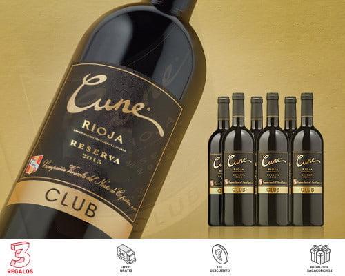 Pack de 6 botellas de vino Rioja Cune Club Reserva 2015 barato, ofertas en vino, vino barato