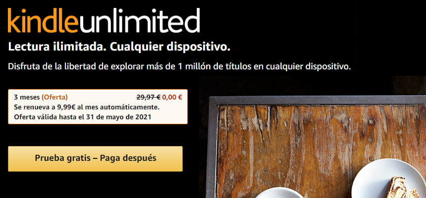 3 meses gratis de Kindle Unlimited, libros gratis