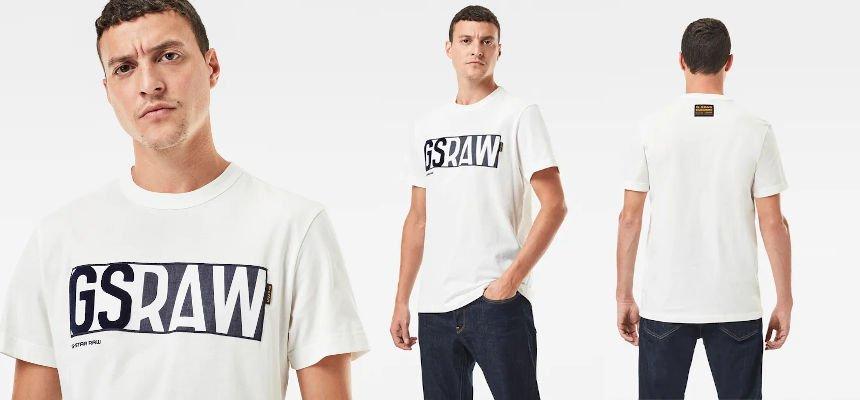 Camiseta G-Star Raw Denim Logo barata, ofertas en ropa de marca