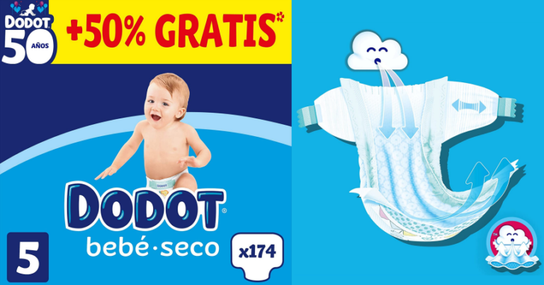 ¡TOMA CHOLLO! Pack 174 pañales Dodot Bebé-seco Talla 5 solo 29,95 euros. Mínimo histórico. Más tallas disponibles.