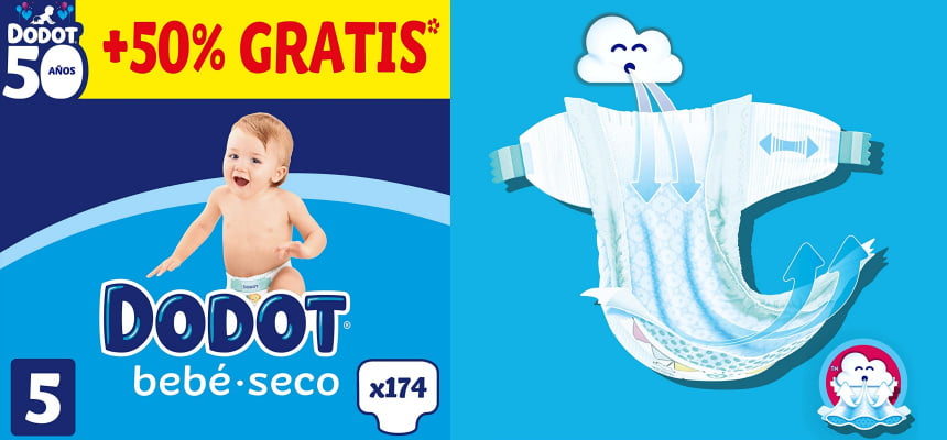 Pack 174 pañales Dodot Bebé-seco Talla 5 baratos, ofertas en pañales