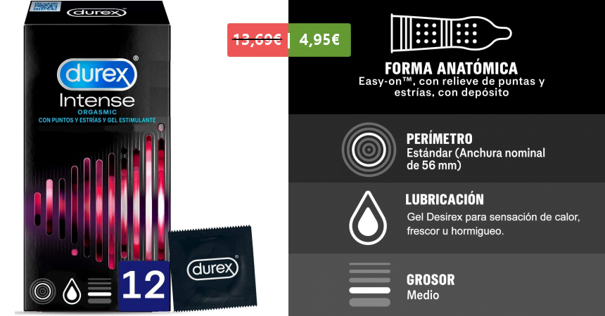 Pack de 12 preservativos Durex Intense Orgasmic baratos, ofertas en preservativos