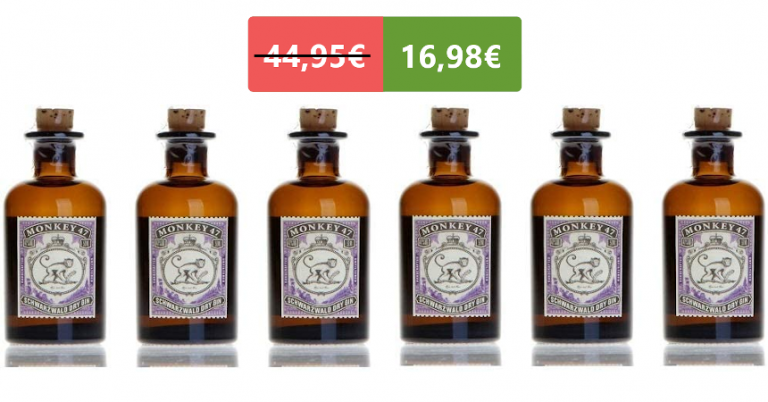¡TOMA CHOLLO! Pack de 6 mini botellas de ginebra Monkey 47 solo 16,98 euros. 62% de descuento.