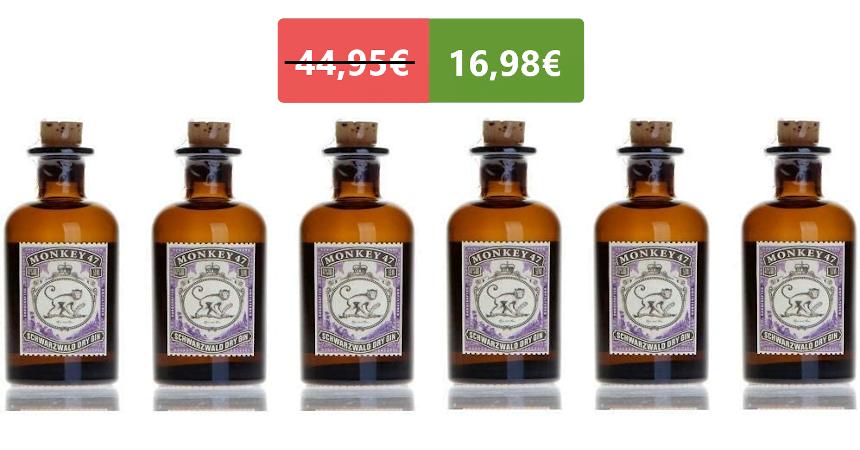 Pack de 6 mini botellas de ginebra Monkey 47 baratas, ofertas en supermercado