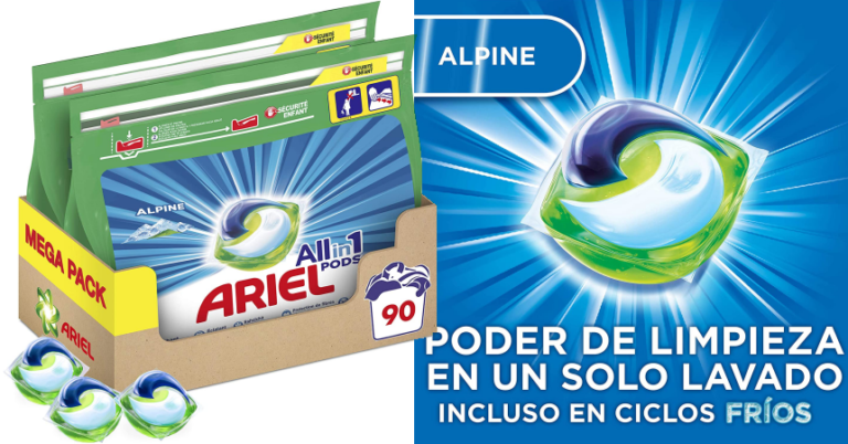 ¡TOMA CHOLLO! Pack de 90 cápsulas de detergente Ariel Pods All in 1 Los Alpes solo 19,04 euros.