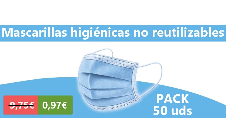 Pack 50 mascarillas higiénicas baratas, ofertas en mascarillas