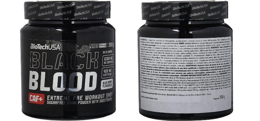 Fórmula pre-entreno Black Blood Caf+ barata, ofertas en suplementos