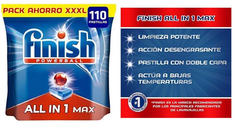 ¡TOMA CHOLLO! Pack de 110 pastillas Finish Powerball All in 1 Max para lavavajillas solo 12,99 euros.