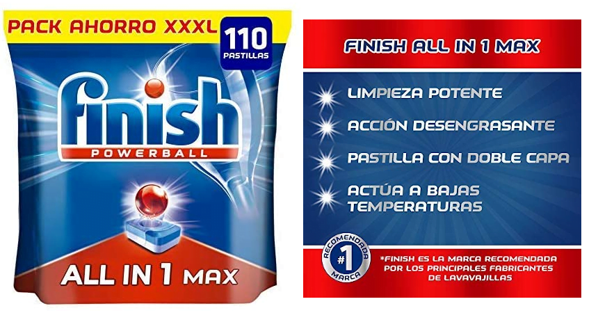 Pack de 110 pastillas Finish Powerball All in 1 Max baratas, ofertas en supermercado