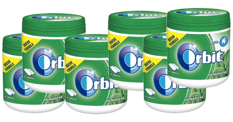 ¡TOMA CHOLLO! Pack de 6 botes de chicles Orbit de hiberbabuena solo 8,68 euros. 50% de descuento.