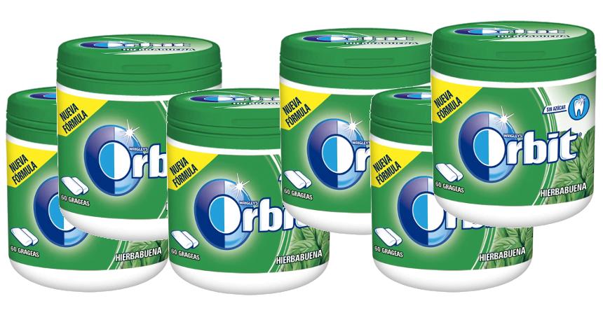 Pack de 6 botes de chicles Orbit de hiberbabuena barato, ofertas en supermercado