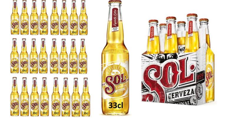 ¡TOMA CHOLLO! Pack de 24 botellines de cerveza mexicana sol Lager solo 19,29 euros.