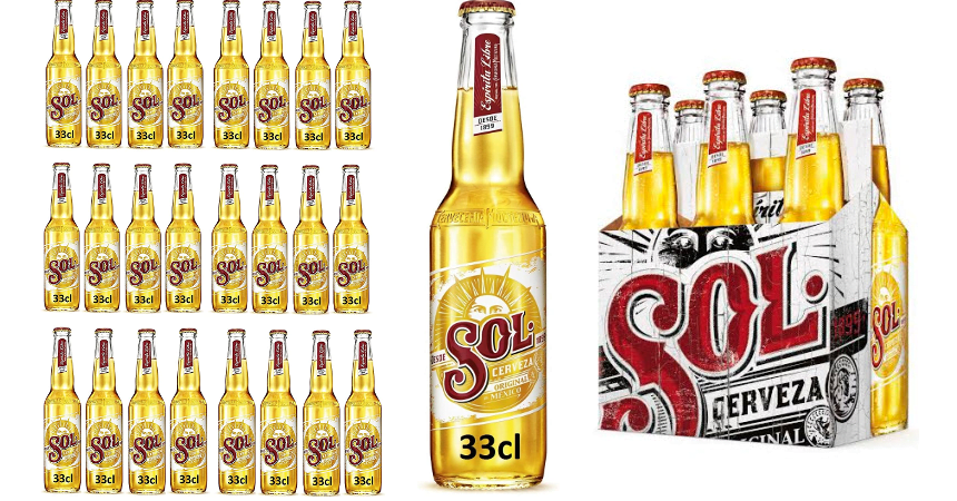 Pack de 24 botellines de cerveza mexicana sol Lager baratas, ofertas en supermercado
