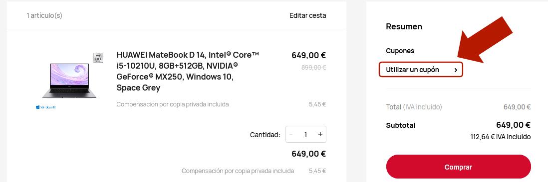 Código de descuento Huawei MateBook D 14