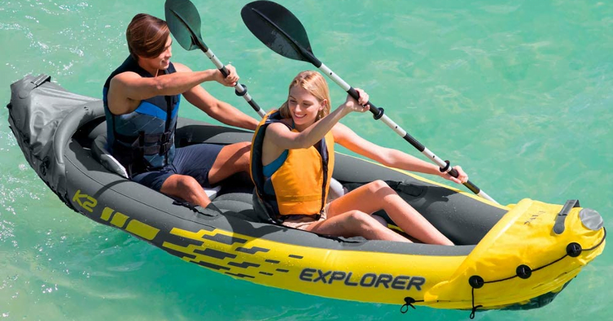 Kayak hinchable Intex Explorer K2 barato, ofertas en material deportivo