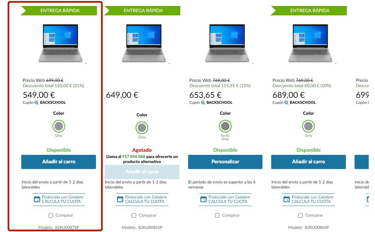 Oferta ordenador portátil Lenovo IdeaPad 3 con cupón descuento